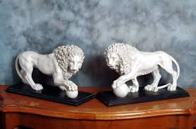 marble lions marble sculpture by sculptured arts studio medici vacca lions