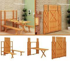 save space using the fold up picnic table and bench diy find