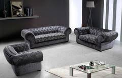 Modern Fabric Sofa Sets 3 Pcs Modern Fabric Sofa Set With Tufted Acrylic Crystals