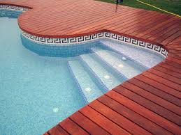 red wooden plank for paving flooring with mosaic glass tiles of