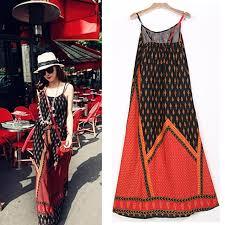 abstract pattern sleeveless dress bohemia beach long maxi dress floral printed slip sleeveless ethnic