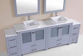 Newport Gray Double Modern Bathroom Vanity With  Side - Bathroom vanity for vessel sink 2