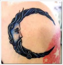 man face crescent moon tattoo design photos pictures and