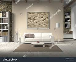 country style living room 3d rendering stock illustration