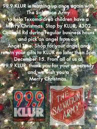 the salvation army angel tree klur fm