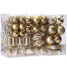 christmas ornament sets valery madelyn 50ct luxury gold beige shatterproof