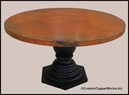 round copper top dining room table wood pedestal table base 1