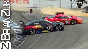 cadillac ats racing 458 gt3 and cadillac ats v r collide at laguna seca