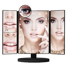 black touch control lighted makeup mirror lighted makeup mirror with 10x 3x 2x 1x magnification tri fold