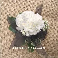 black and white corsage white carnation pin on corsage wedding flowers leicester