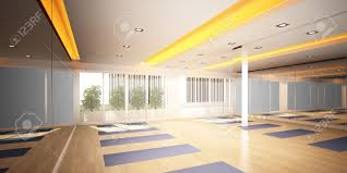 yoga room 3d interior design stock photo picture and royalty free