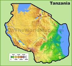 World Physical Map by Tanzania Physical Map