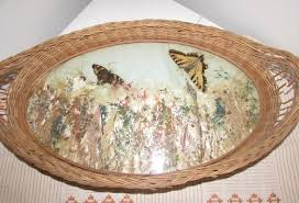 butterfly serving platter antique wicker serving tray taxidermy butterfly moth collection