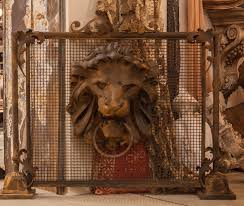 old world renaissance regal lion fireplace screen