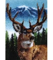 Hook Latch Rugs Amazon Com Caron Classics Latch Hook Kit Deer 20