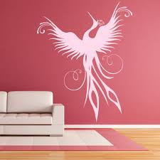 bird feathers wall stickers iconwallstickers co uk phoenix modern silhouette birds feathers wall stickers home decor art decals