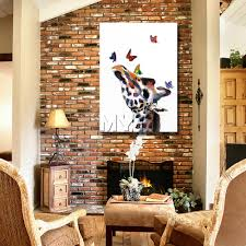 animal head home wall decorations cartoon giraffe oil paintings