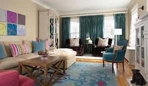 Teal And Yellow Curtains Mirrored Armoire In Living Room Contemporary With Swing Arm