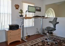 brown wooden small standing desk in a modern design furniture