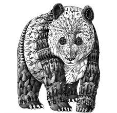 original grey ink panda bear in decorated armour tattoo design