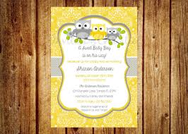yellow and gray owl baby shower invitation digital file