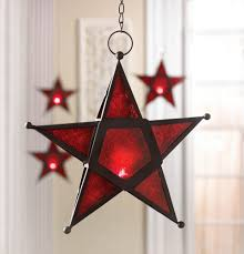 wholesale red glass 3 d wrought iron star shape hanging candle lantern