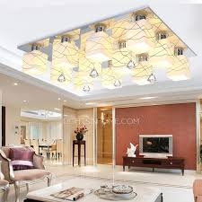 Ceiling Ls For Living Room Stylish 12 Light Patterned Glass Shade Semi Flush Mount Ceiling Lights
