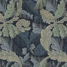 William Morris Wallpaper by William Morris Fabrics Acanthus Indigo Mineral