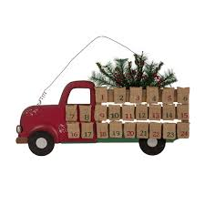 wooden pickup truck glitzhome wooden lighted christmas truck countdown advent calendar