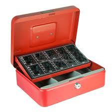 red sterling steel cash box with coin sorting counting counter