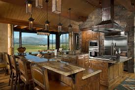 kitchen island with stove top granite top dining kitchen rustic with wall timber frame