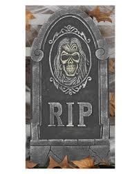 gravestone with skull rip as halloween decoration horror shop com