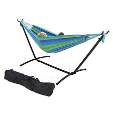sunnydaze 9 ft steel hammock stand with double brazilian hammock