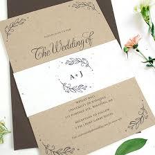 wedding invitations kraft paper seeds of kraft paper wedding invitations with seed paper band