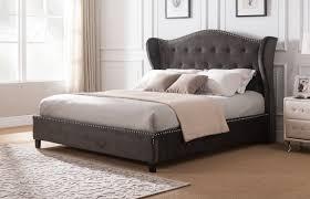red barrel studio clendon wing back upholstered platform bed