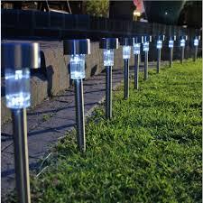 solar garden path lights oubell brand 10pcs stainless steel solar energy garden lawn solar