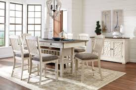 counter height dining room table signature design by ashley bolanburg white and gray rectangular