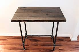 Diy Pipe Desk by Shabby Black Varnished Teak Wood Standing Desk Using Black Iron