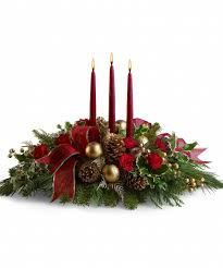 three candle centerpiece http www allensflowers com christmas
