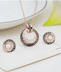 pendant necklace set images Rose gold plated crystal pendant necklace round earrings jewelry jpg