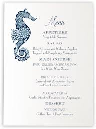 wedding menu cards seahorse wedding menu cards wedding menu card custom