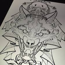 unique black outline wolf with skull design