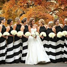 striped bridesmaid dresses modern black and white wedding black