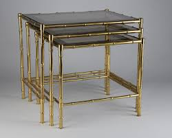brass faux bamboo nesting tables 1950s for sale at pamono