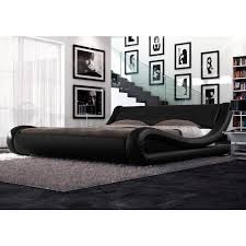Cheap Leather Bed Frame Leonardo Pu Leather Curved Bed Frame In Black Buy