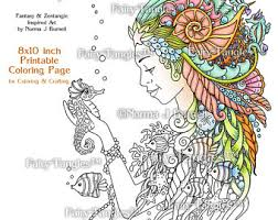 water sprite mermaid fairy tangles printable coloring book