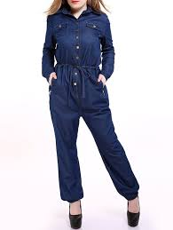 blue mechanic jumpsuit 2018 plus size casual mechanic single breasted denim jumpsuit blue
