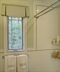 double shower curtain rod in bathroom eclectic with valance ideas
