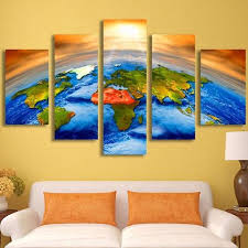Earth Home Decor by Hd Printed Canvas Wall Art Pictures Home Decor Poster 5 Pieces Sun