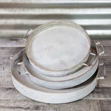 metal platters serving trays footed metal platters with handles set of 3